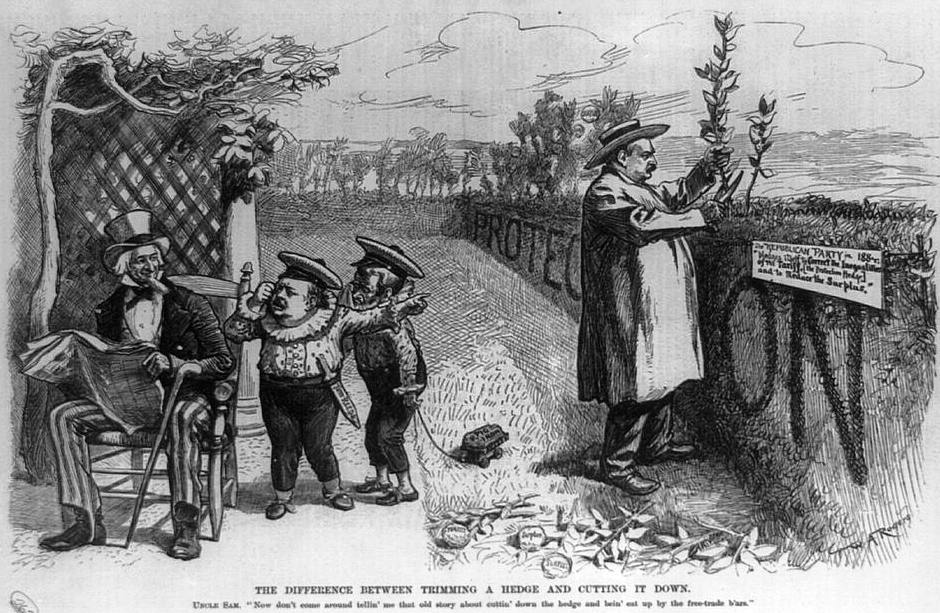 Grover Cleveland attacked in poliitcal cartoon for protectionist tariffs in 1888.