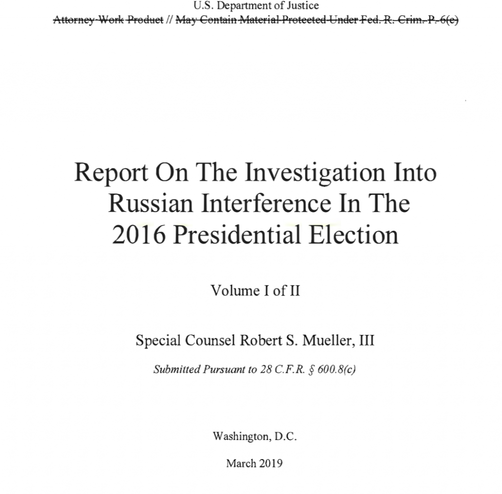 Image of the cover of the Mueller Report.
